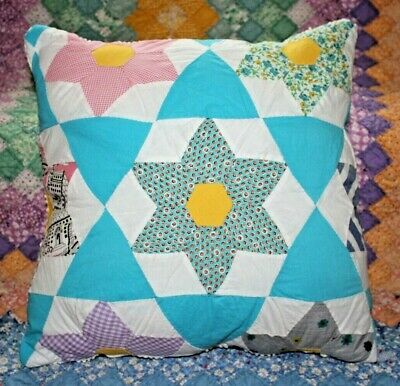 Throw Pillow Made From A Vintage Six Point Star Cutter Quilt Block Some Feedsack