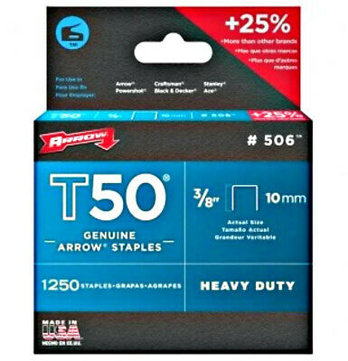 "Pack of 1250 + 25% FREE ARROW T50 10mm (3/8"") HEAVY DUTY STAPLES - UPHOLSTERY"