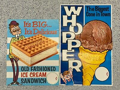 Vintage Soda Fountain Paper Ice Cream Signs Posters - 2 pcs