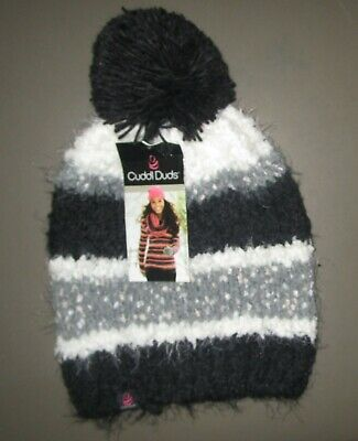 CUDDL DUDS~One Size~18671~Women's Black Multi Plush Knit Hat with Pom