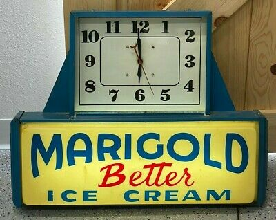Vintage Marigold Better Ice Cream Lighted Clock Sign - WORKS