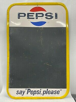 Vintage Metal Pepsi Cola Say Pepsi Please Chalkboard