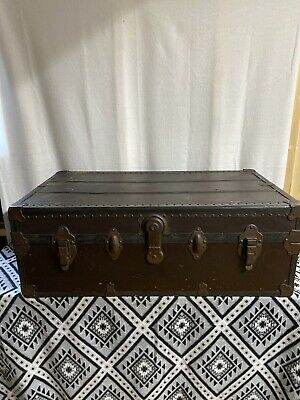 Antique Flat Top Steamer Trunk Stagecoach Chest with Inserts Vintage VERY NICE