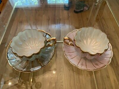 Lot Of 2 Vintage Royal Sealy Iridescent Footed Porcelain Teacup & Saucer