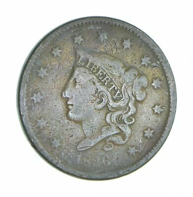 Tough - 1836 Young Head Large Cent - US Early Copper Coin *865