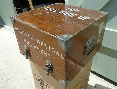 Vintage Optical Equipment Chest Storage Trunk Craft Hobby Box Side Coffee Table