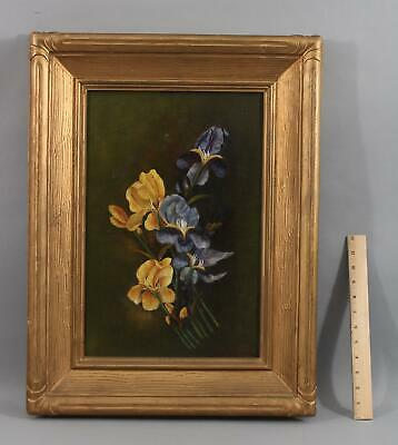 Antique CARRIE B HAWKES Boston American Pansy Flower Still Life Oil Painting NR