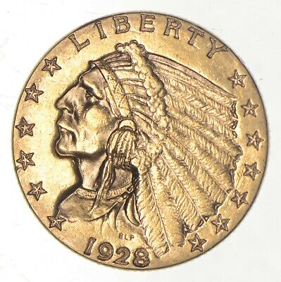$2.50 United States 90% US Gold Coin - 1928 Indian - No Reserve *681
