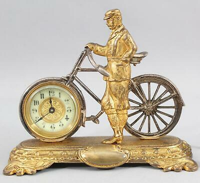 RARE Antique United Clock Co, Bronze 19thC Bicycle & Rider Clock, NR