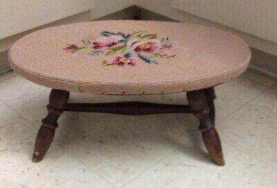 Antique Oval Needlepoint Foot Stool.