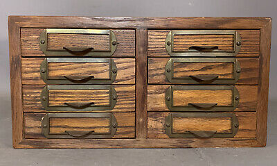 Vintage 8 Drawer OAK SCIENCE SPECIMEN Coin RELIC GEMSTONE Old SEAGLASS CHEST