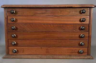 Antique 6 Drawer SPECIMEN / COIN COLLECTION Old SEAGLASS RELIC Display CHEST
