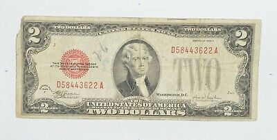 1928-F Red Seal $2.00 United States Note - Legal Tender - Historic *556