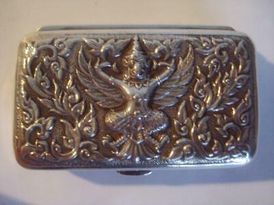 Vintage Sterling Silver Pill Box Siam Relief Hindu Goddess Design