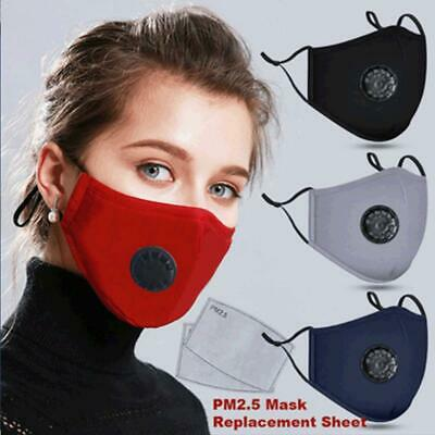 NEW Face Mask with Breathing Valve & FREE 3 Filter Washable/Reusable-USA STOCK
