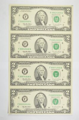 Rare** UNCUT SHEET 1995 $2 Fed Res Notes Choice Unc Never Cut by Treasury *821