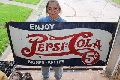 "Large Pepsi Cola 5c Bigger-Better Double Dot Soda Pop Gas Oil 48"" Metal Sign"
