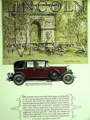 LINCOLN 2-WINDOW BERLINE 4 PASSENGER Automobile Advertising 1927 Matted