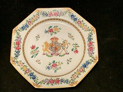 "18th/19th C. Hand Painted 8 3/4""  Armorial Porcelain Cabinet Plate 8 Sided."