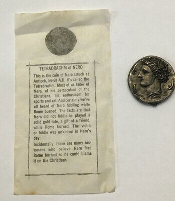 Ancient Tetradrachm Of Nero Antique Replica Coin W Information From 1950's Set
