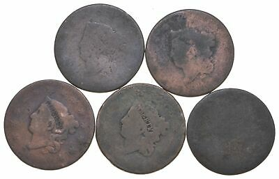 Lot of 5 1817-1857 Early US Large Cent - Dateless - History You Can Hold! *302