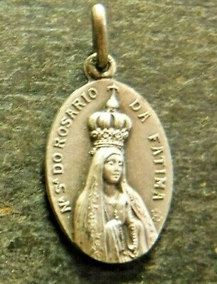 Vintage Our Lady of Fatima Catholic Medal, Brown Scapular Substitute Medal