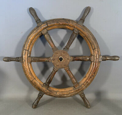"28"" Antique NAUTICAL Old SHIPS WHEEL Wood MARITIME SALVAGE Beach COTTAGE Decor"