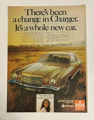 1975 Dodge Charger Special Edition '75 Original Print Ad Coupe A Whole New Car