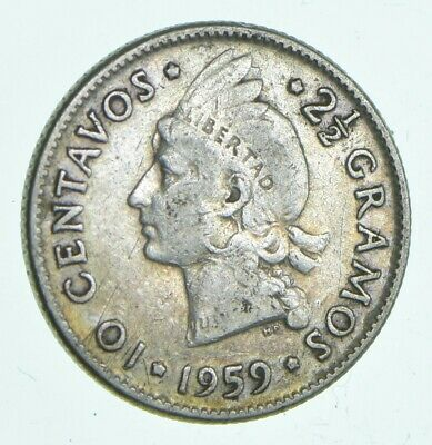 Roughly Size of Dime 1959 Dominican Republic 10 Centavos World Silver Coin *620
