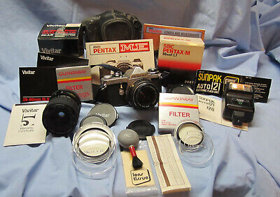 Pentax Asahi ME 35mm camera with lenses and accessories