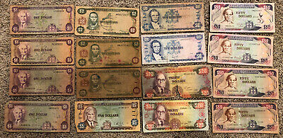 Group Lot Of 16 Bank Of Jamaica Notes $1 - $50 Dollars Currency Paper Money