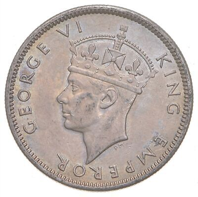 SILVER - Roughly Size of Quarter - 1942 Fiji 1 Shilling - World Silver Coin *747