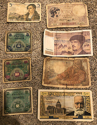 Group Lot Of 8 France 2 To 20 Francs Circulated Includes AMC Notes