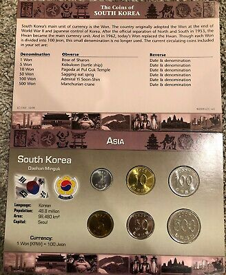 Asia - The Coins Of South Korea 6 Pc Set 1 - 500 Won UNC Cardboard 1983-2007