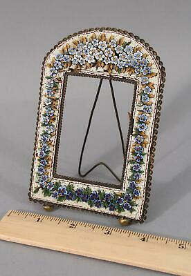 Antique Early 20thC Handmade Micro-Mosaic Floral Flowers Photograph Frame, NR