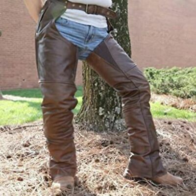 Distressed Brown Leather Motorcycle Chaps First Classics Insulated  Men XL