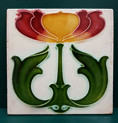 English Art Nouveau Tile- Impressed Majolica -  Good Condition - Corn Brothers