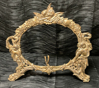 Vtg Victorian Cast Brass Wall Picture Frame Mirror Cherub Face Ornate Angels