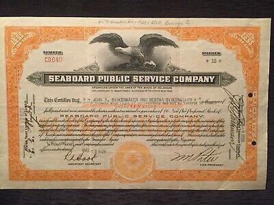 Seaboard Public Service Company Stock Certificate Dated March 9, 1929
