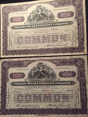 Two Stock Certificates From Middle West Utilities Company Dated 1930 And 1932