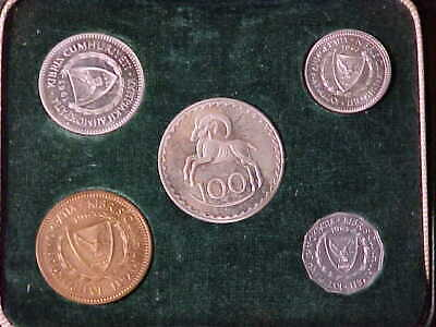 Cyprus 5-Coin Proof Set 1963 In Original Green Case Nice