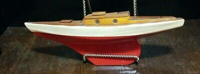 Vintage Wood Pond Sailboat Model Nautical Marine Water Toy