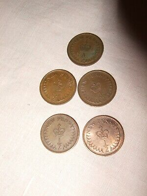 UK Half Pence (1/2p) Coins (5-off)  1971