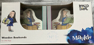 MATILDA Wooden Bookends With Rubber Stoppers Roald Dahl NEW In Box