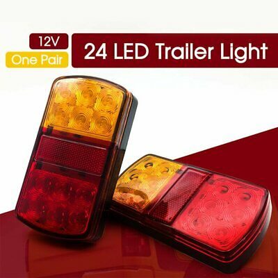 2 x 12 LED Waterproof 12V Rear Stop Brake Turn Tail Lights Trailer Caravan
