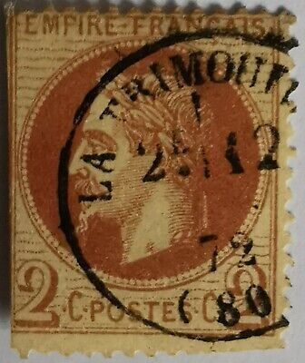 """TIMBRE FRANCE  N°  26  """" NAPOLEON  III,   2c  , ROUGE-BRUN  """"OBLITERE COTE 40 €."""