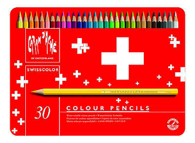 CARAN D'ACHE Swisscolor Coloured Pencils - Tin of 30 Assorted Colours