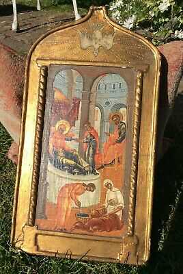 Antique 18/19th C Russian Icon Nativity of the Virgin, Mary Palekh