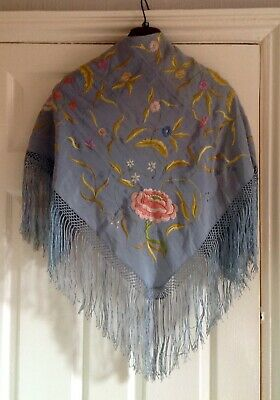 Vintage Chinese Heavy Silk Shawl, Hand Embroidered With Deep Fringe
