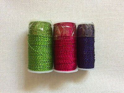 Green, Pink & Blue Bullion Crinkle Reel Wire - Florist, Craft, etc